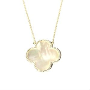 Dreams Jewelry - Sterling Silver Mother of Pearl 4 Leaf Clover Neck